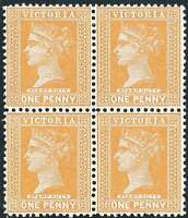 VICTORIA 1890-1900 inscribed Stamp Duty 1d YELLOW-ORANGE ACSC75b Block 4 NHM/LHM