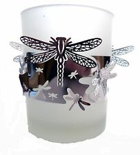 FROSTED GLASS T-LIGHT HOLDER WITH SILVER BAND OF DRAGONFLIES