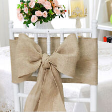 "25 packs Burlap 6""x108"" Chair Cover Sashes Bows Natural Jute Wedding Event USA"