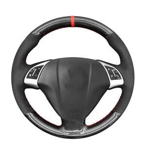 Black Suede Carbon Fiber Steering Wheel Cover For Fiat Punto Bravo Linea Qubo