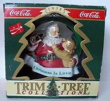 1991 COCA COLA SANTA TRIM A TREE CHRISTMAS IS LOVE ORNAMENT