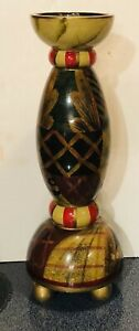 """Bombay Company Wood Candle Holder 13""""  Hand Painted Footed"""