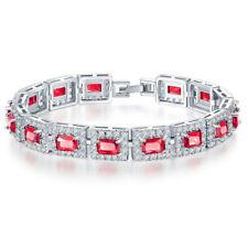 Lovely Wedding Gift Heart Sweet Rose Topaz white Zircon Silver Charming Bracelet