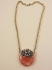 Sterling Silver Pink Stone Flower Rolo Necklace