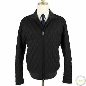 NWOT Zegna Grey Wool Cashmere Trofeo Leather Details Padded Bomber Jacket 46US