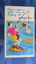 Risque Comic Postcard 1960s Sub Aqua Snorkel Scuba Diving Fishing BYRON BAY