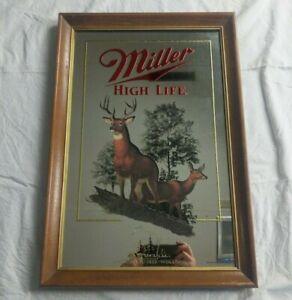 Miller High Life Beer Mirror White Tailed Deer Wisconsin Wildlife Series