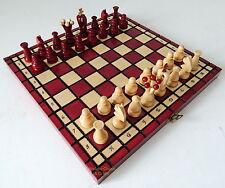 Nuevo Polaco Real Juego de ajedrez de madera 31cm/30.5cm Rojo Burdeos