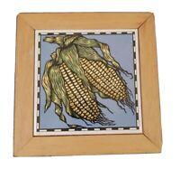 """Vintage Wood Framed Ceramic Tile Corn Husks Makers Stamp Orient Taiwan 21 8"""" sq"""