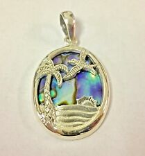 Oval Pendant With Abalone Shell Inlay Sterling Silver Palm Tree Sunrise Bird