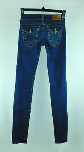 TRUE RELIGION Leather Tag Straight Leg Women's Juniors Jeans Med Wash W24/L34