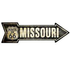 "Outdoor Decor Vintage Route 66 Missouri Novelty Metal Arrow Sign 5"" x 17"""