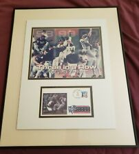 New York Yankees Three In A Row Framed Photo with USPS Stamp Art