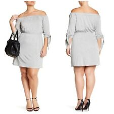 Vanity Room $120 Heather Grey French Terry Off-the-Shoulder Dress Plus Size 2X