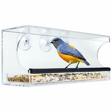 Acrylic Window Bird Feeder with Padded Perch Drain Holes Removable Tray Clear