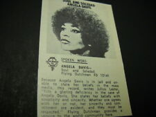 ANGELA DAVIS original 1971 music biz promo only album review SOUL AND SOLEDAD