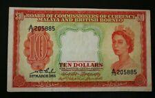 Malaya QEII $10  1953  GVF