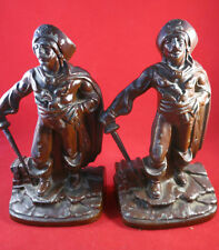 Vintage Swashbuckler Pirate Bookends Painted Finish 7 1/2 In