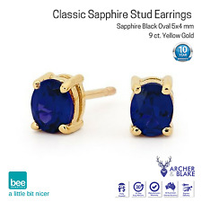 9k Carat Yellow Gold Stud Earrings with Blue / Black Oval Sapphire Love Gift