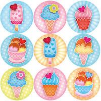144 Sweet Summer Ice Cream 30mm Children's Reward Stickers, Teachers, Party Bags