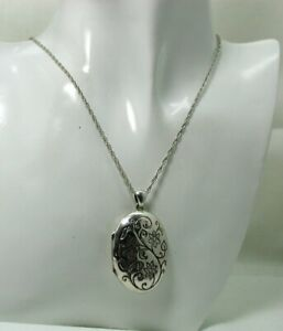 Vintage Lovely Engraved Silver Locket With Motto On A Silver Chain