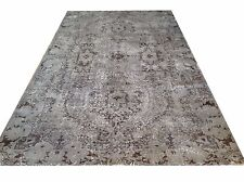 """9'  X 5'5""""  Turkish Vintage  gray black faded overdyed  carpet rug tapis teppich"""