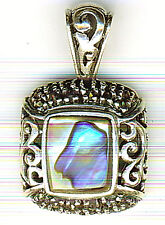 925 Sterling Silver Marcasite & Abalone / Paua Square Pendant Length 30mm 1.1/8""