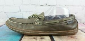 LL BEAN Men's Brown Leather Flannel Lined Moccasin Slippers Size 9 M