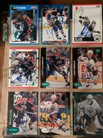 Lot of (9) Assorted EDMONTON OILERS Signed Hockey Cards SIMPSON CONKLIN MANSON