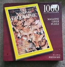 """NATIONAL GEOGRAPHIC 19.5"""" × 28.25"""" """"Red Foxes 1000 puzzle NIB Magazine Cover1991"""