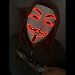 Anonymous LED Red Mask Light Up Scary Bonfire Night Halloween Costume Purge