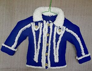 Babies Hand-knitted Jacket and Matching Hat. Size:- 12 to 18mths