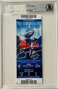 NE Patriots Julian Edelman Signed MVP Super Bowl LIII Ticket Beckett BAS Seat 21