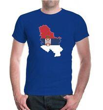 Herren Unisex Kurzarm T-Shirt Serbien-Shape Serbia Serbie Flagge flag Fanshirt