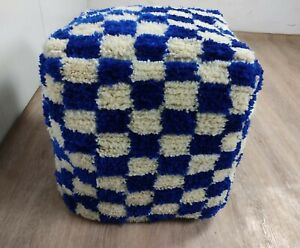 Dark Blue and white Moroccan Berber wool checkered pouf! Floor cushion