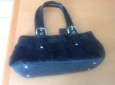 Coach F13742 Black Signature Soho Pleated Tote Purse Handbag Excellent Condition
