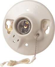 Leviton Porcelain Lamp Holder with Pull Chain and Outlet