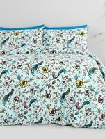 Jade Oriental Pale Blue Duvet Cover and Pillowcase Bedding Set - Single & Double