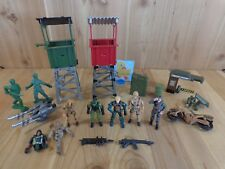 MILITARY TOY LOT 19 Pieces Stand Forts Soldiers Motorcycle Wounded Assorted