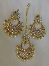Indian Bollywood Pearl Beads White Maang Tikka & earring Forehead Jewelry Set