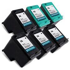 6 Pack HP 74 75 Ink Cartridge - OfficeJet J6410 J6413 J6415 J6424 J6450 J64