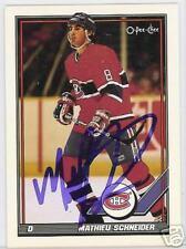 MATHIEU SCHNEIDER Montreal Canadiens 1992 OPC  AUTOGRAPHED HOCKEY CARD JSA