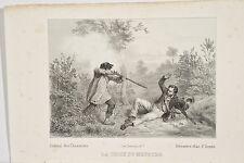 """Drame Chasse Braconnier tirant sur un Chasseur """"la Croix du Meurtre"""" litho 1840"""