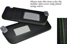 GREEN STITCHING FITS PEUGEOT 306 93-02 2X SUN VISORS LEATHER COVERS ONLY