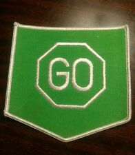 "Vtg NOS 70's ""GO"" sign hippie peace love biker patch"