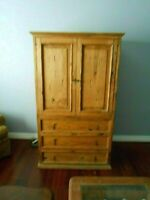 Antique Pine Primitive  Cabinet  Storage Chest with Panel Doors - Country!!