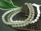 Antique Chinese Nephrite Celadon Hetian old Jade 6mm Beads Necklace Pendants