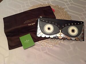 NWT Kate Spade Wise Owl Large Leather Zipped Clutch Evening. Collector Item.