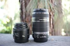 Canon EF-S 55-250mm F/4-5.6 IS Lens + EF 50mm 1.8 - With Caps, Barely Used Mint