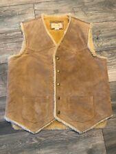 Vintage Leather Sheepskin Scully Vest Men's Small Very Nice
